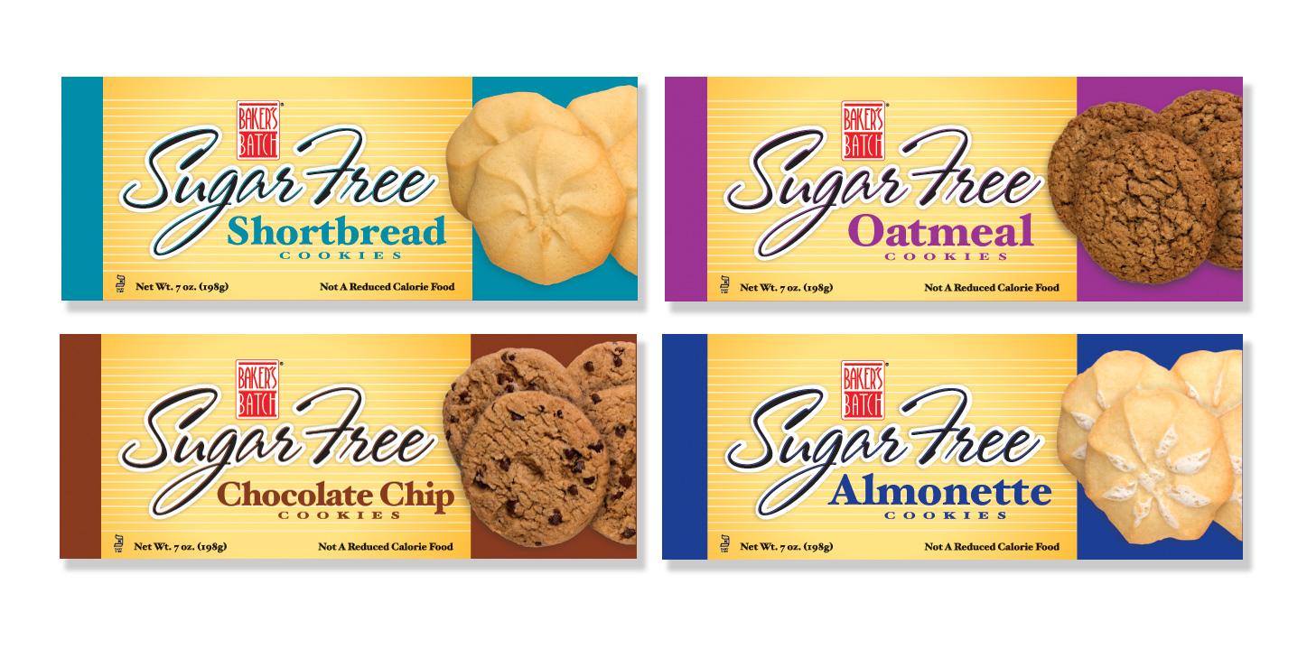 Bakers batch sugar free cookies packaging design