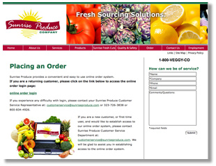 Sunrise Produce Company Website
